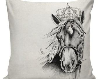 Equestrian Horse with Crown Cushion Pillow Cover cotton canvas throw pillow 18 inch square #UE0140