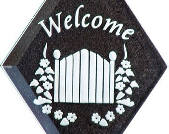 Carved Glass Welcome with Flowers and Gate Hanging Suncatcher
