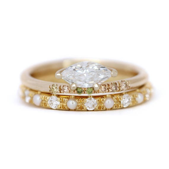 Marquise Diamond Wedding Ring Set Pearl Bridal Ring Set