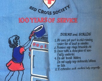 British Red Cross First Aid Irish Linen Union Society Vintage Tea Towel Instructional 100 Years of Service