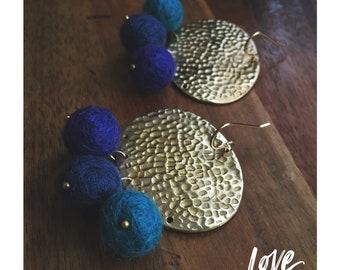 Marina Earrings — hammered raw brass discs, felted wool OMBRÉ blue Azul boho lightweight spring ocean statement nashville gypsy minimalist