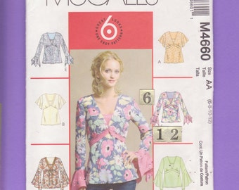 V Neck, Empire Waist Top Sewing Pattern/ McCall's 4660 Womens flounce, flared, Pullover, flutter sleeve blouse, tunic UnCut/ Size 6 8 10 12