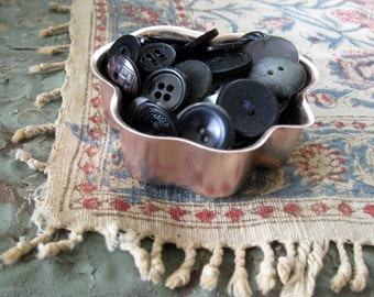 Vintage Black and Brown Button Collection in Copper Tin