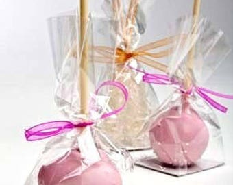 "25 Clear Cake Pop Bags . 2"" x 1.5"" x 5"" High Clarity Bag with Flat Bottom Gusset and Paper Insert"