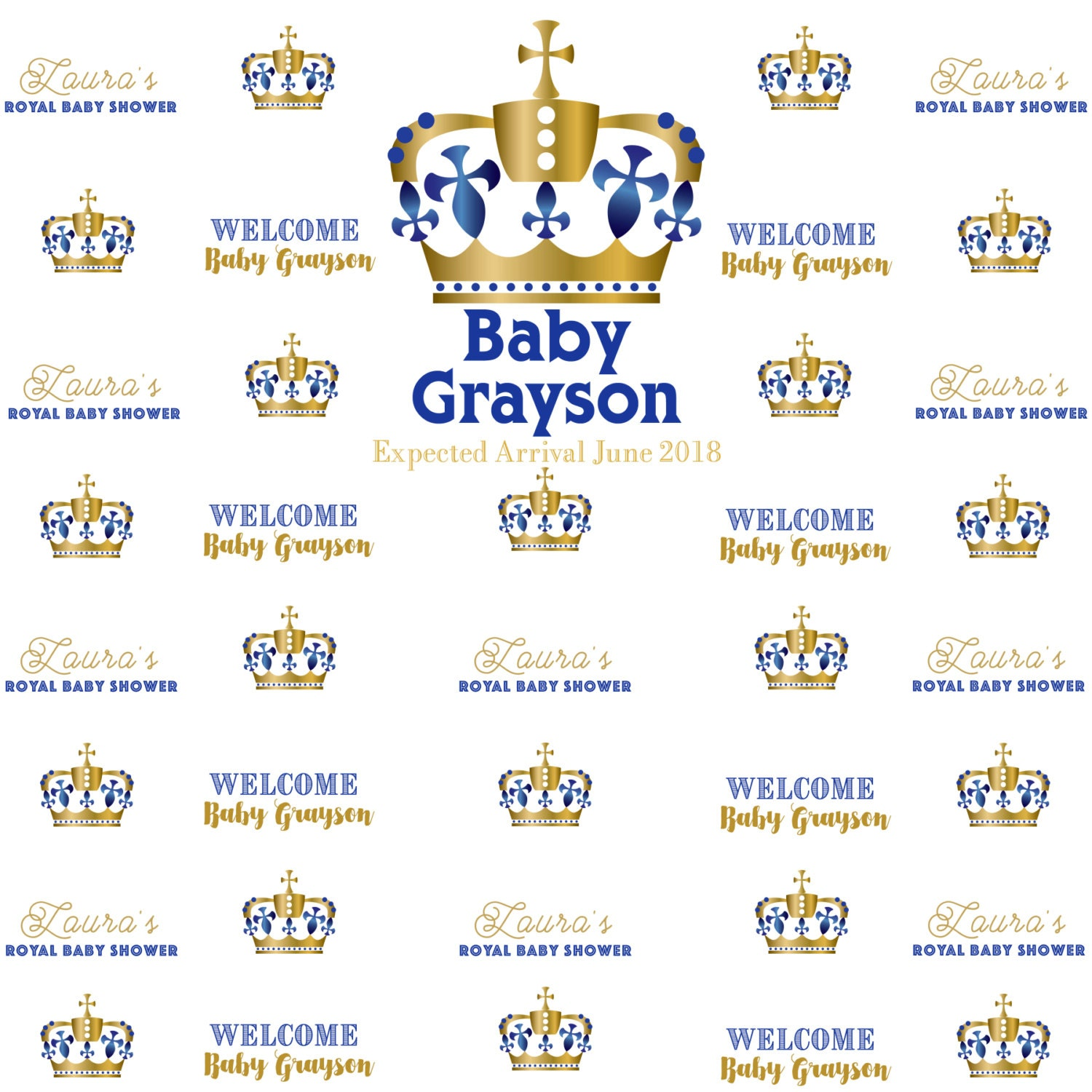 Finest Royal Baby Shower Personalized Photo Backdrop - Welcome Little  XO14