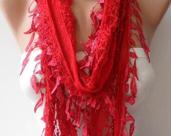 Valentine's Day Gift Red Lace Scarf with Trim Edge - Women Accessories- Trending Item - Gift Ideas - For Her- WomenCyber Monday Gift for Her