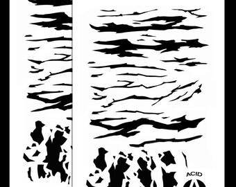 """Acide tactique® 2 Pack - 14"""" Camouflage aérographe peinture pochoirs - Duracoat Cerakote Gun bricolage - TIGER STRIPE Camo"""
