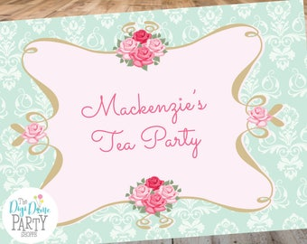High Tea Party Printable Backdrop A0 Size - Mint Green and Pink - Instant Download - Bridal Showers and Birthday Parties