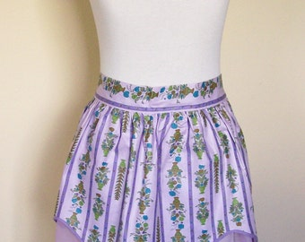 Vintage Half Apron Purple Polished Cotton & Organza Party Serving Hostess Easter Linens