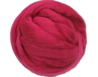 Merino Silk Roving Raspberry- Vibrant Color Mulberry Wool Silk Blend Fiber for Spinning & Felting