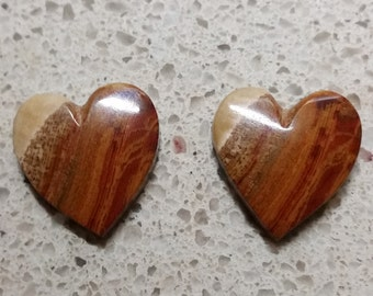 Brown and Red Banded Onyx Heart Cabochon Pair/ backed