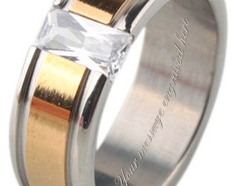 Men's engraved personalised ring size L M N O P Q R S T U V W + gift box -ref JF