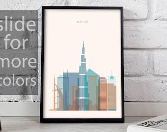 Dubai art Dubai print Dubai decor Dubai poster Dubai Skyline Burj Khalifa poster Dubai wall art Gift poster