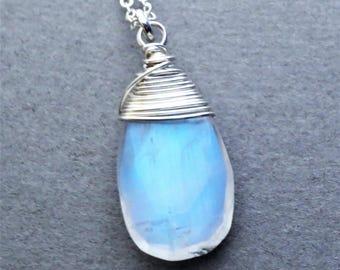 Rainbow Moonstone Sterling Silver Pendant Necklace EE Designs