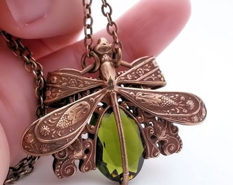 Dragonfly necklace, dragonfly jewelry,  olive green necklace, dragonfly pendant necklace, Art Nouveau filigree jewelry, statement necklace