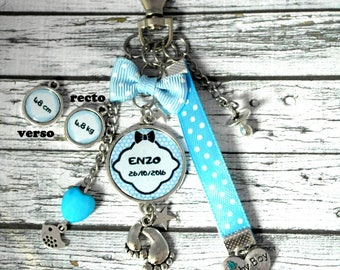 Baby boy key holder or jewelry bag personalized cabochon charms key baby