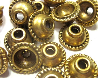 30 Antique gold bead caps 10mm diy jewelry findings 656Y nickel free lead free X6
