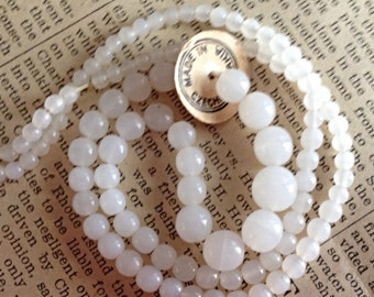 Vintage Czech Glass Bead Strand - Milky White Round Beads - Varying Graduated Sizes