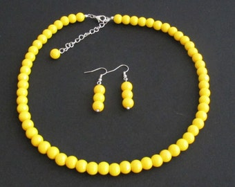 Yellow pearl necklace yellow bead necklace,Wedding Necklace jewelry,bridesmaid necklaceYellow Bead Jewelry Free Shipping In USA