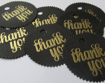 Black and Gold  Thank You Tags /Circle Tags  / 30th Birthday Thank you Tag/ Bridal Shower Tags/ Black and Gold Favor Tags, Bachelorette