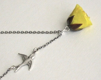 Yellow Real Rosebud Necklace - Natural Preserved, Bird Necklace, Sterling Silver, Flower Jewelry