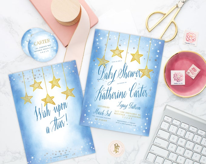 Wish upon a Star invitation - Star is Born invitation - baby shower invitation - Twinkle Twinkle little star invitation - Star invitation
