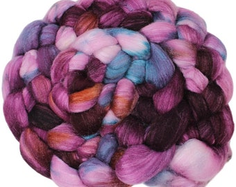 Orchid - hand-dyed merino wool and silk (4 oz.) painted combed top