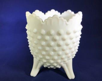 Fenton White Hobnail Milk Glass Three Footed Dish