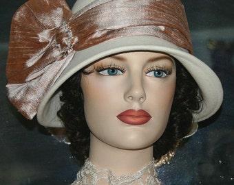 Kentucky Derby Hat Flapper Hat Edwardian Tea Hat Church hat Gatsby Tea Hat Downton Abbey Hat Women's Ivory Hat - Lady Josephine