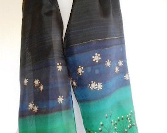 black and green silk scarf