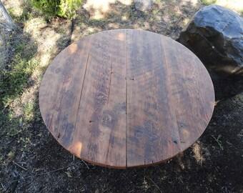 "Custom for Kristi 36"" diameter 16"" height Espresso stain Old Reclaimed Barnwood - Round Dining Table, hairpin legs"