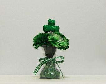 St Patrick's Day, Shamrock, Irish Decor, St Patricks Decor, Green Carnations, Bud Vase, Floral Arrangement, St Patty's Day, Spring Decor