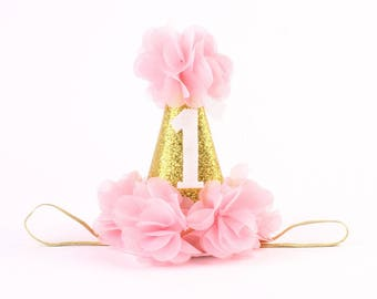 Half Birthday Hat-Gold Glitter Birthday Hat-First Birthday Outfit-Toddler Birthday Prop-Lavender & Gold Hat-Pink and Gold Birthday Party Hat