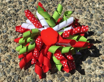 Hair Bow Clip - Red Green and White Polka Dot Ribbon Korker / Corker Hair Clip with Red Flower-shaped Bead
