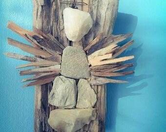 Driftwood and stone Angel Driftwood Art, Driftwood Sculpture, Wall Art, Reclaimed Driftwood, angel