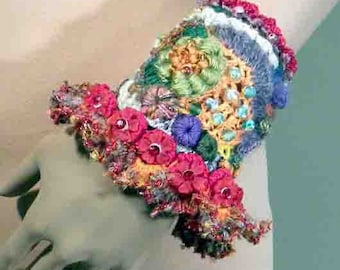 Sale - ELEGANT SIGNATURE CUFF - Wearable Fiber Art Jewelry, Exquisitely Beaded, Hand Embroidered, Freeform Crocheted