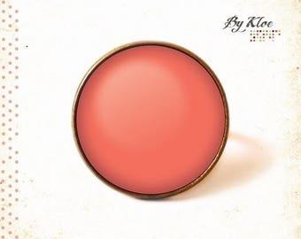 Monochrome 3 pink • orange color color glass Cabochon ring