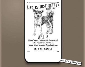 Akita dog phone case cover iPhone Samsung ~ Can be Personalised