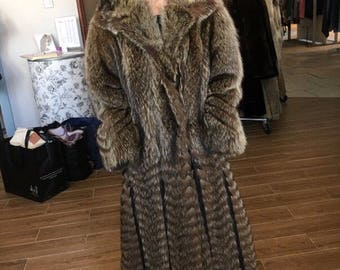 VINTAGE Raccoon and Leather Full Length Fur Coat