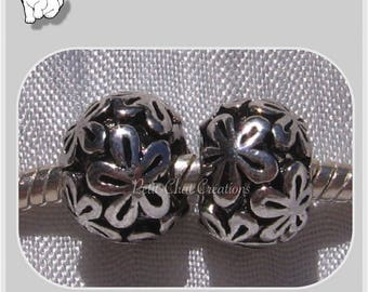 2 CHARMS beads rings flowers METAL silver 9x12mm hole 5mm compatible * E216