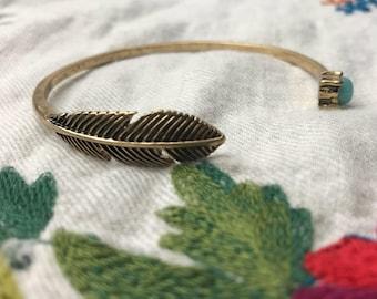 Feather Open Bracelet / Bangle - Blue Gemstones