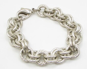 925 sterling silver - twisted hoops double rolo chain bracelet - b1131