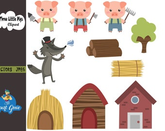 Three Little Pigs Clipart, Three Little Pigs Clip Art, Three Little Pigs Png, Wolf Clipart, Pigs Clipart, House Clipart, Story Clipart