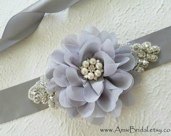 GRAY Wedding Sash, Gray Bridesmaids Sash, Grey Flower Girl Bridal Sash, Gray Wedding Belt, Gray Maternity Sash, Grey Bridesmaids Belts
