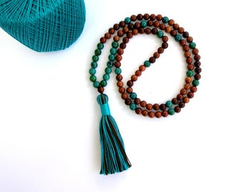 Boho Tassel Necklace, Bohemian Jewelry, Bead Tassel Necklace, Mala Bead, 108 Mala Bead, Yoga Meditation Prayer Bead, Mala Necklace,Buddhist