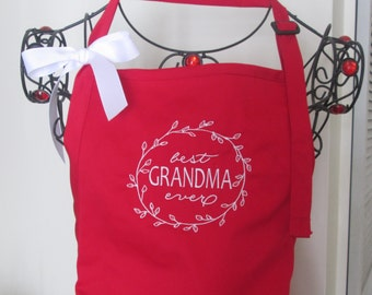 """Personalized Apron """" Best Grandma Ever"""" /Mom/Sister/Friend/Bridesmaid/Teacher  Embroidered in your choice of colors."""