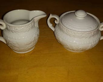 Vintage Ironstone sugar and creamer Hunt Club pattern by T. G. Green and Co Limited.
