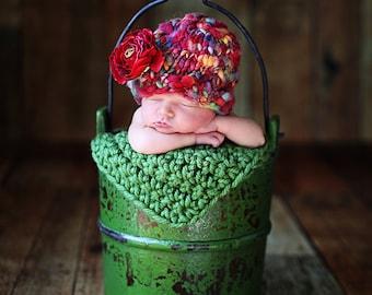 Newborn Photo Prop Chunky Baby Blanket Photography Prop Green Basket Filler Basket Stuffer