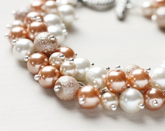 Wedding Bridesmaid Jewelry Pearl Cluster Bracelet - Beige Dreams