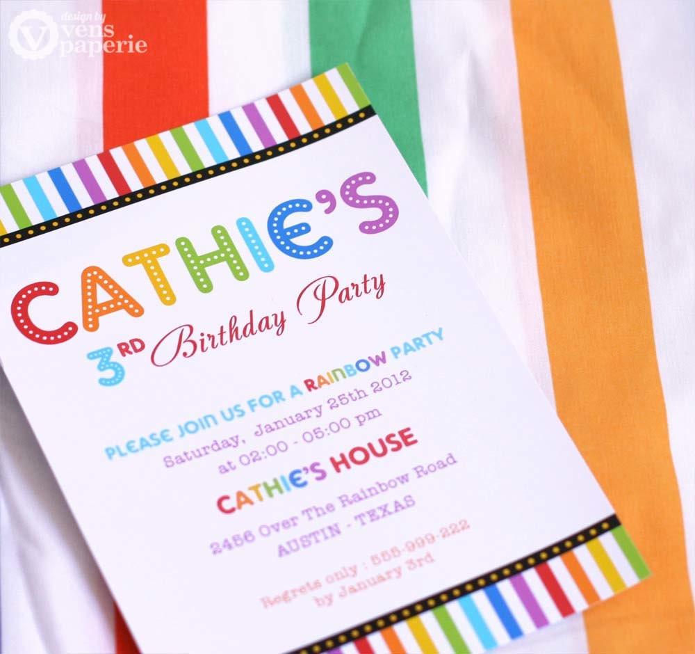 DIY PRINTABLE Invitation Card Rainbow Birthday Party